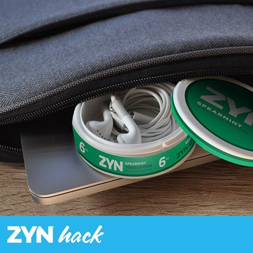 ZYN Hack: Headphones stored inside an empty can of ZYN Tobacco-Free Nicotine Pouches