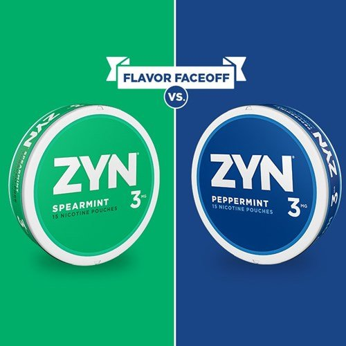 Flavor Faceoff: A split image displaying cans of Spearmint and Peppermint ZYN Tobacco Free Nicotine Pouches