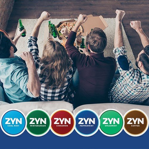 A group of adult friends on the couch cheering. A variety of different ZYN Tobacco-Free Nicotine Pouch cans are at the bottom.
