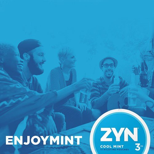 "A group of adult friends hanging out together. A can of ZYN Tobacco-Free Nicotine Pouches is in the right corner with the text ""Enjoy Mint."